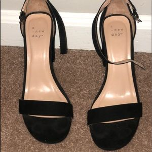 Black suede heels size 8.5
